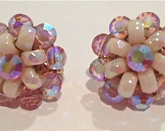Vintage Pink Austrian Crystal clip on earrings by Vogue