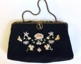 Black Beaded Purse Tambour Embroidery Hand Made in France Point de Beauvais