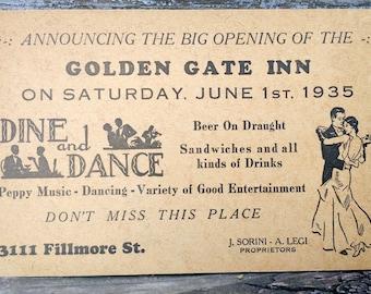 Vintage 1935 Golden Gate Inn Grand Opening Postcard San Francisco 3111 Fillmore St