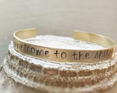Welcome to the Shitshow Cuff Gold Silver Bracelet Brass Funny Inspirational Gift Adjustable Bracelet Shit Show