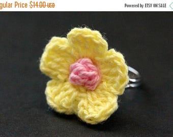 SUMMER SALE Yellow Crochet Flower Ring. Yellow Flower Ring. Knit Flower Ring in Yellow and Pink. Silver Adjustable Ring. Handmade Jewelry.