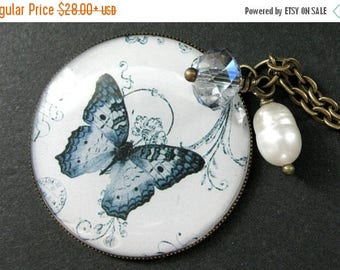 BACK to SCHOOL SALE Pale Blue Butterfly Necklace. Fresh Water Pearl and Blue Crystal Charm Necklace. Handmade Jewelry.