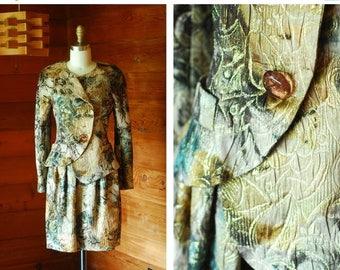 20% off weekend sale / vintage Krizia floral brocade silk suit / size small