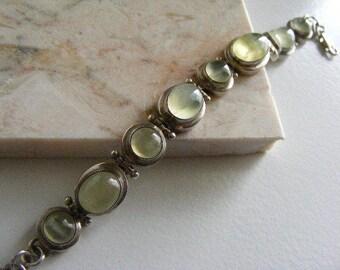 Vintage Prasiolite Cabochon Bracelet in Sterling Silver  Lot 2841