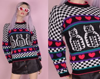 80s Kawaii Kittens Sweater/ Small/ 1980s/ Black/ White/ Checkered
