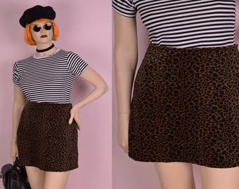 90s Fuzzy Leopard Print Skirt/ Large/ 1990s