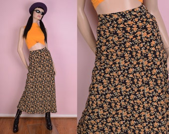 90s Floral Print Maxi Skirt/ US 6/ 1990s