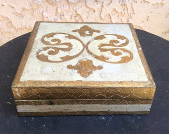 Vintage square white and gold Florentine hinged box  Home decor  jewelry wood box