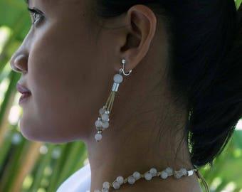 Gemstone Tassel Earrings, Rose Quartz Earrings, Aquamarine Earrings, Long Earrings, 1 Pair