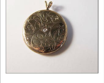 Rare Antique Victorian 10k Engraved Old Mine Cut Diamond Locket - opens for picture or keepsake