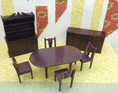 Marx Dining room set Complete   Toy Dollhouse Traditional Style hard Plastic dark Brown