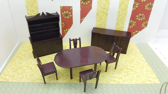 Marx Dining Room Set Complete Toy Dollhouse Traditional