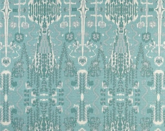 Two 20 x 20  Custom Pillow Covers - Lacefield Bombay Ikat Mist - Teal Blue Grey Cream