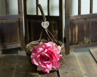 Dark Pink Rose Twig round personalized wedding small rustic flower girl basket. Customize with flower and initials