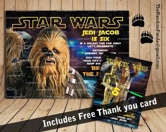 Star Wars Invitation, Chewbacca Party, Star Wars Birthday Invite