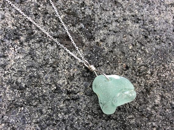 Seaglass, Beachglass, Seafoam Green, Sterling Silver Diamond Cut Chain Necklace