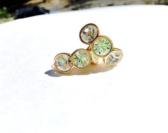 Swarovski SAL Rhinestone Hoop Pierced Earrings Vintage Designer Fashion Jewelry