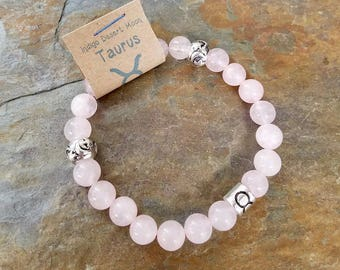 Rose Quartz Taurus Zodiac Bracelet, Astrology Bracelet, Zodiac Jewelry, Pink Stone Bracelet, Boho Bracelet