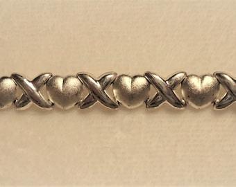 Vintage Sterling Silver Heart & X's Bracelet