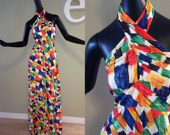 "Vintage 70s MOD Maxi Dress Hippie Boho Festival Swimsuit Cover Up Unique Sexy ""Twist Front"" halter neck backless Bright Colors by Cirette SM"