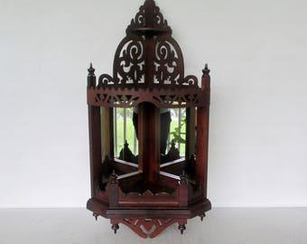 3 Tier Corner Shelf Wall Mount Wood Display with Mirror Fretwork
