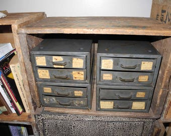 Vintage Industrial Hardware Storage Electrical  2  Drawer Organizer Chest Industrial Decor. Small Metal Chest of Drawers
