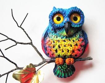 Owl wall decor sculpture, whimsical bird art, owl wall decor, colorful wall sculpture