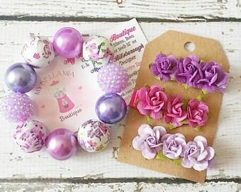 Shabby Chic Chunky Bracelet, Children's Chunky Bracelet, Flower Clips, Boho Bracelet, Boho Clips, Vintage, Purple Bracelet, Fabric Beads
