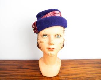 Vintage Purple & Pink Womans Hat Cap Genuine Velor Eva Mae Modes, Boho Woodland Hair Headpiece, Wedding Head Piece Head Accessory