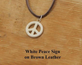 White Peace Pendant. White peace sign strung on brown leather. Gift for him or her. Birthday gift. Friendship gift. Handcrafted unique.