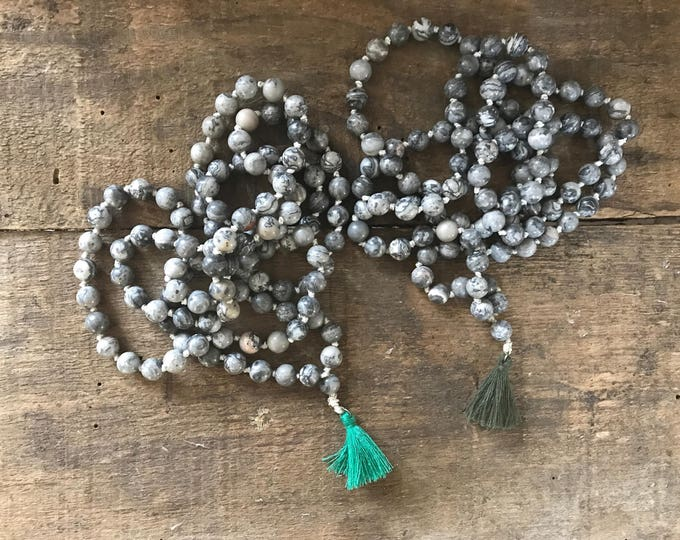 picture jasper yoga mala necklace, special gift for yoga teacher training, present for yogi, unique gift for girlfriend, gemstone jewelry