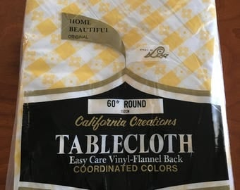 Vintage Yellow Gingham Vinyl Flannel Back Tablecloth, Unopened, Picnic Tablecloth, Patio Table Cloth, 60 Inches, Round, California Creations