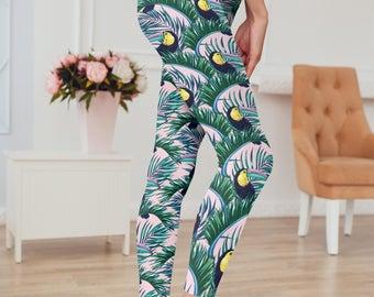 Tropical Print Toucan Printed Parrot Leggings/Yoga Pants