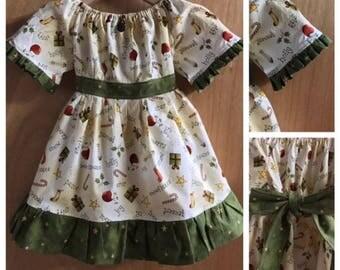 Christmas Cotton Short Sleeve Prairie/Peasant Dress, size 3t