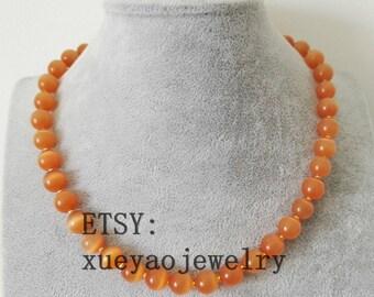 free shipping- opal necklace, orange opal necklace, 10 mm orange opal necklace