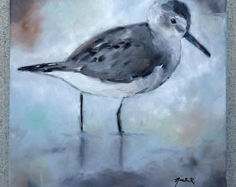 Sandpiper painting, light colored coastal art, beach bird on canvas, white and gray sandpiper on the beach, small beach house painting,