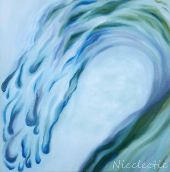 Wave painting, gray purple green abstract art, coastal art, living room art, mantle art, abstract wave on canvas, coastal decor beach house