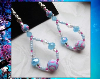 BLUE FLORAL- Women's Long Beaded Earrings- Sparkling Crystals and Polymer Clay- Stainless Steel French Hook Ear Wires