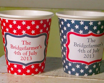 Personalized Stars, All-American, 4th of July Party Cups - Set of 12