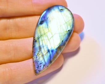 Large Grade A Labradorite Cabochon - Tear Drop Blue Green and Gold Flash - 48mm by 23mm
