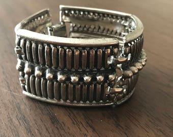 Vintage Silver Chunky Metal Panel Bracelet