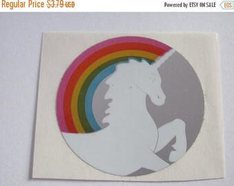 SALE Hambly Reflective Mylar Vintage Rainbow Unicorn Sticker - 80's Fantasy Collectible Scrapbook Collage Retro Foil