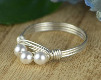Pearl Ring- Sterling Silver, Yellow or Rose Gold Filled Wire Wrapped/White Crystal Pearls Stacking Band - Size 4 5 6 7 8 9 10 11 12 13 14