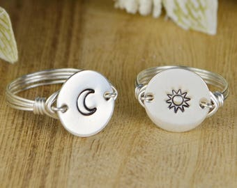 Sun OR Moon Wrapped Ring- Hand Stamped Sterling Silver, Yellow or Rose Gold Filled Wire Ring- Any Size 4 5 6 7 8 9 10 11 12 13 14
