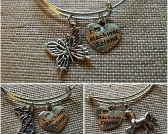 Mackinac Island bracelet - Michigan charm bangle bracelet. Choose your charms! Horse, butterfly, Michigan