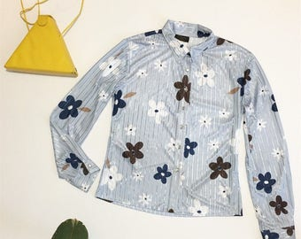 90s blue floral Blouse,
