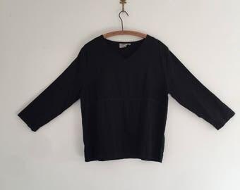 Vintage 90's Black Linen Hot Cotton Top M