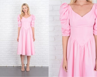 Vintage 70s Pink Puff Sleeve Dress victorian A Line Midi Small S 10037