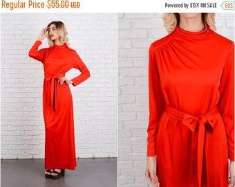 Sale Vintage 70s Red Mod Dress High Collar Maxi long sleeve asymmetrical medium M 8535