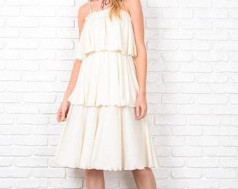 Sale Vintage 80s Tiered Flapper Dress Boho Hippie Cream Small Medium S M 8691